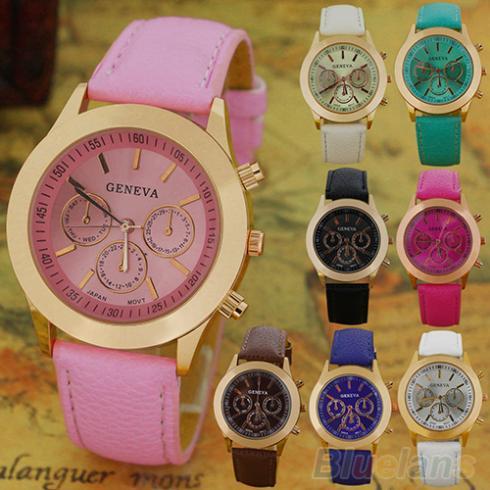 Women's Vintage Geneva Roman Numerals Faux Leather Analog Quartz Wrist Watch 1SB2 - BlueSky- store