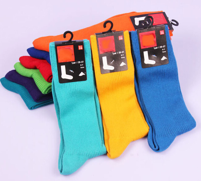 2014 Classic Fashion Combed Cotton Candy Color Socks Men Quik-druing Absorbent Sports Knee High Heaps Socks for Girls or Boys Одежда и ак�е��уары<br><br><br>Aliexpress