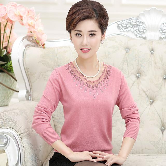 Весна и осень 2016 новых женщин среднего возраста свободного покроя широкий рубашку ...