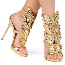 Hot sell women high heel sandals gold leaf flame gladiator sandal shoes party dress shoe woman patent leather high heels(China (Mainland))