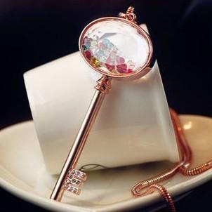 Summer !! Fashion Rhinestone Crystal Key necklace Wholesale !Free shipping!
