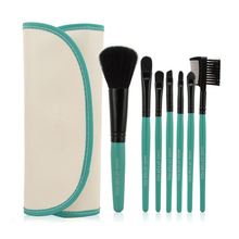 BlueCoral Color Brand New Fashion Professional 7 pcs Makeup Brush Set tools HOT Make-up Toiletry Kit Wool Make Up Brush Set Case