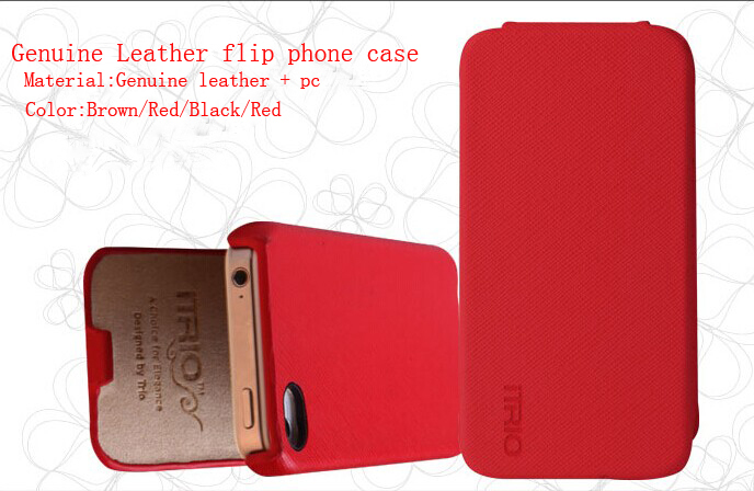 Luxury brand Genuine leather flip itiro logo cover phone case apple iphone 4/4s  -  Boutique Phone Case Store store