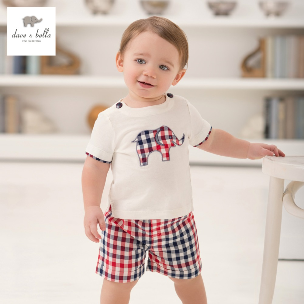 DB926 dave bella summer printed short sleeved baby font b clothing b font sets for font