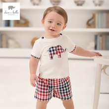 DB926 dave bella summer printed short-sleeved baby clothing sets for boy printed sets infant set toddle clothes boys sets