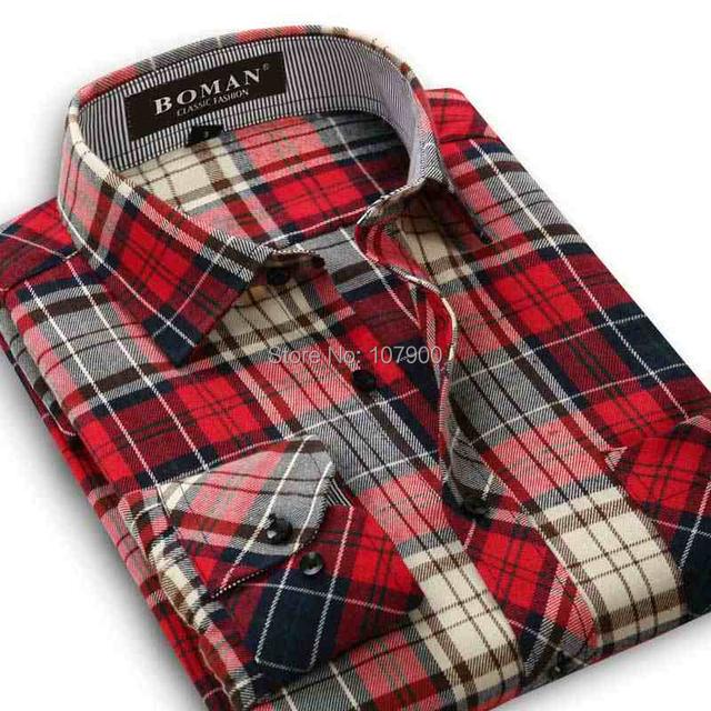 2015 новых фланель мужчин клетчатые рубашки тонкий с длинным рукавом деловых мода ...