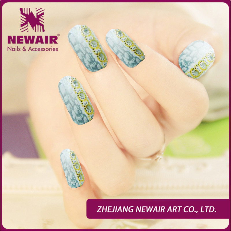 New Personalized Nail Art Jeweled Strips Shiny Crystal Wraps Decals Nail Foils Patch Tip Tips + 1 nail file + 1 manicure stick(China (Mainland))