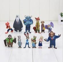 Free shipping 12pcs/lot 4-8cm new Movie Zootopia Cartoon Utopia Action Figure Movie Pvc Mini Models Nick Fox Judy Rabbit Dolls