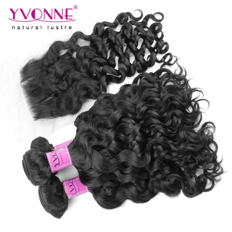 3 Bundles Italian Curly Перуанские женские волосы With Closure,Top Quality YVONNE Human Hair Weave,естественный цвет 1B