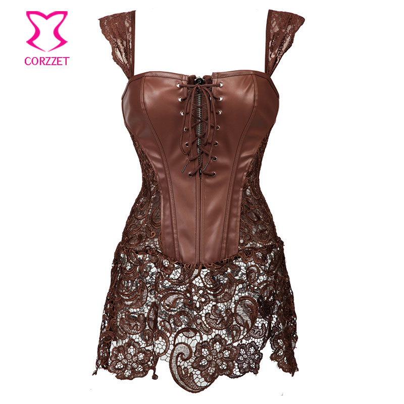 Floral Lace Brown Leather Steampunk Corset Dress Sexy Korset Waist Training Corsets and Bustiers Plus Size Gothic Clothing 6XL(China (Mainland))