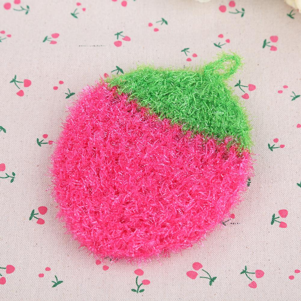 Acrílico Stawberry panos de fibra de limpeza toalha de pano para cozinha cor aleatória