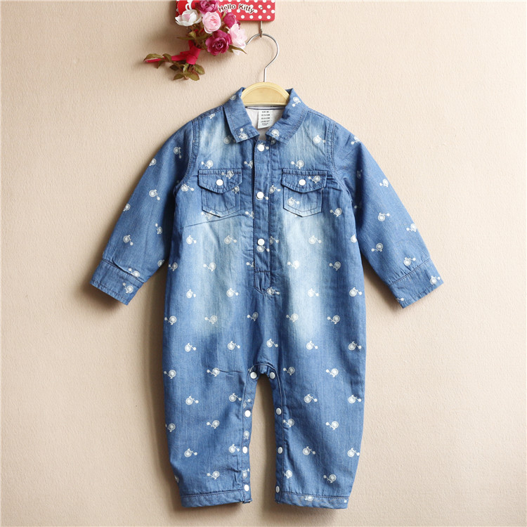Free Shipping 5 Pieces/lot 9-36Months Baby Girl or Boy Spring Cotton Padded Denim Rompers Brand Quality Infant One-piece Clothes<br><br>Aliexpress