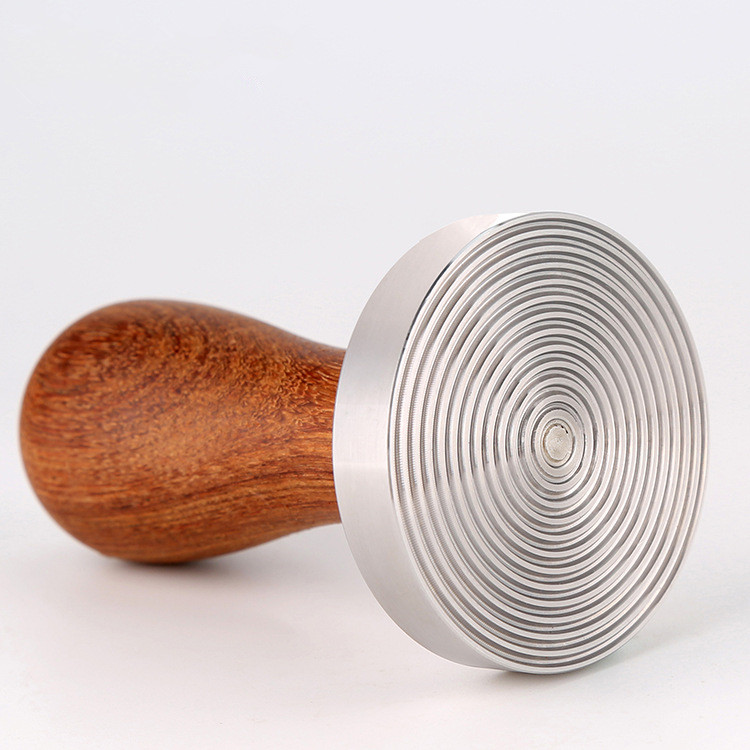 Italian rosewood handle stainless steel tamp