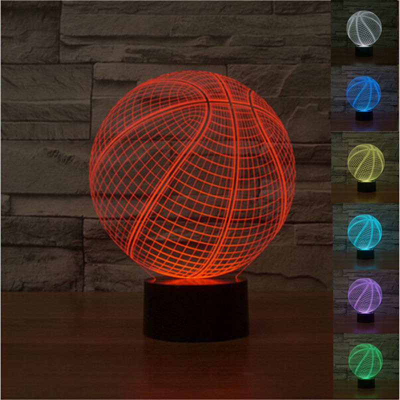 3D Visual Led Night Light Creative Basketball Table Lamp 7 Color Changeable USB Light withTouch Button Home Baby Bedroom Product(China (Mainland))