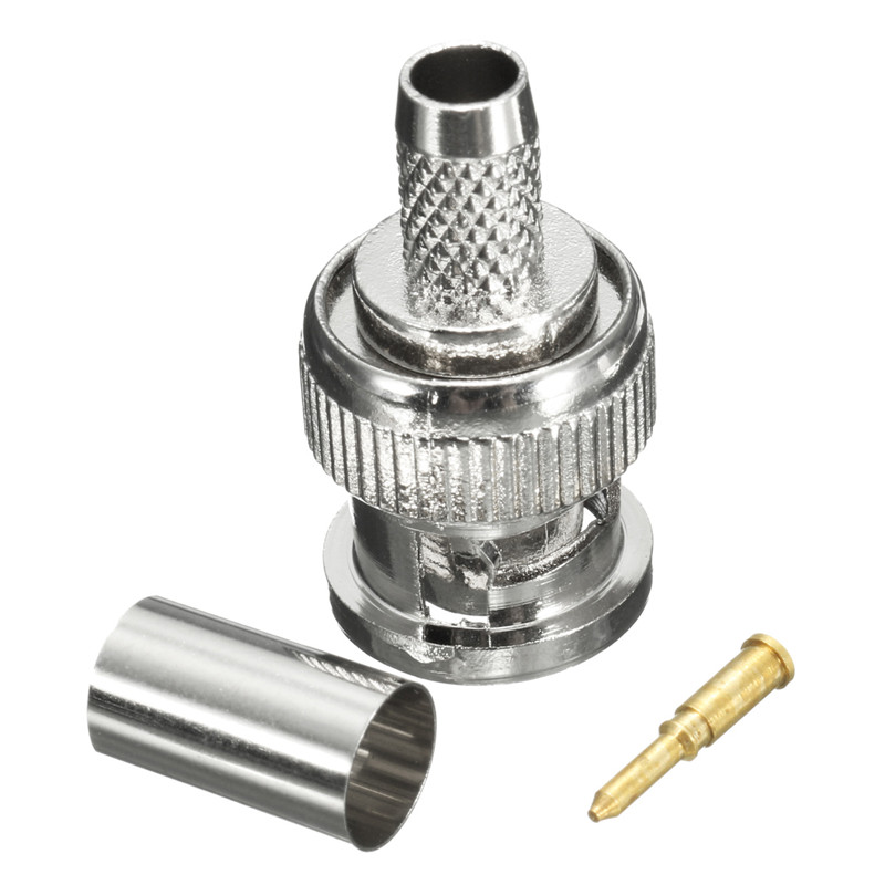 20 Sets BNC Female Connector Crimp CCTV Security Camera Connectors Adapter For RG59 Coax Cable Silver(China (Mainland))
