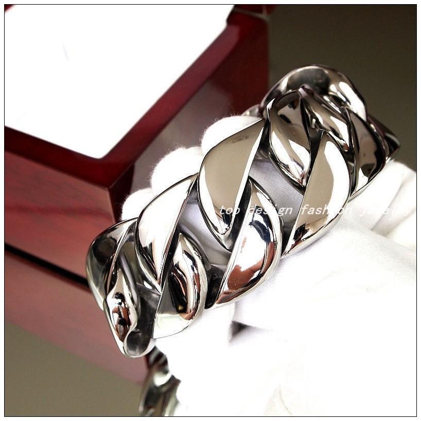 23cm(9.05 inch)*31mm Hotsale Fashion Men Jewelry 316L Stainless Steel Huge Heavy Curb Cuban Chain Men's Boy's Silver Bracelet Bangle - Top Design store