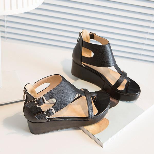 2015 summer new ladies leisure buckle belt women sandals lmed heel women sandals Comfortable and breathable women shoesE1748<br><br>Aliexpress