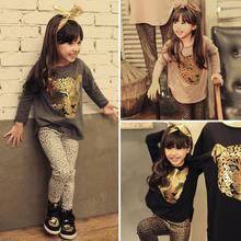 Retail 2015 New Girls Clothing Sets full sleeve T shirt legging 2 piece set 3 color