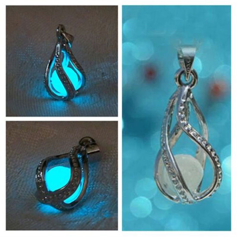 1 PCS Hot Fashion Couple The Little Mermaid's Teardrop Glow in Dark Pendant Glowing Necklace Neck Chain Jewelry(China (Mainland))
