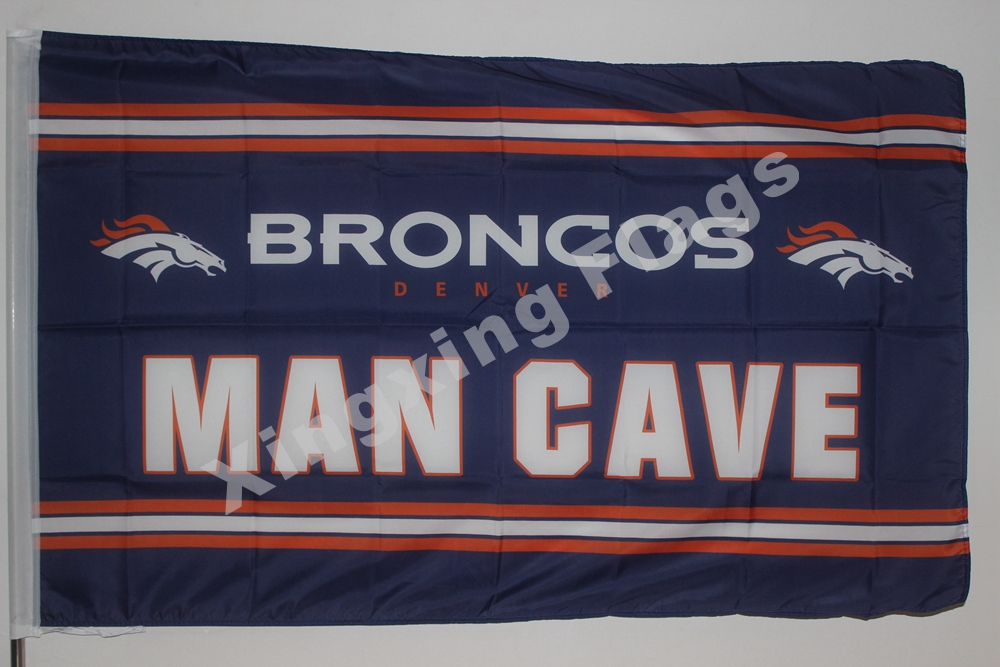 Denver Broncos Man Cave Flag 3ft X 5ft Polyester NFL1 Denver Broncos Banner Flying Size No.4 144* 96cm Custom Flag(China (Mainland))