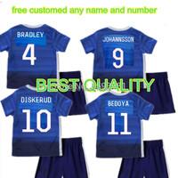 2015-2016 USA Soccer Jerseys Blue soccer uniform kits youth kids child 16 USA Soccer Jerseys sport trasuit +short