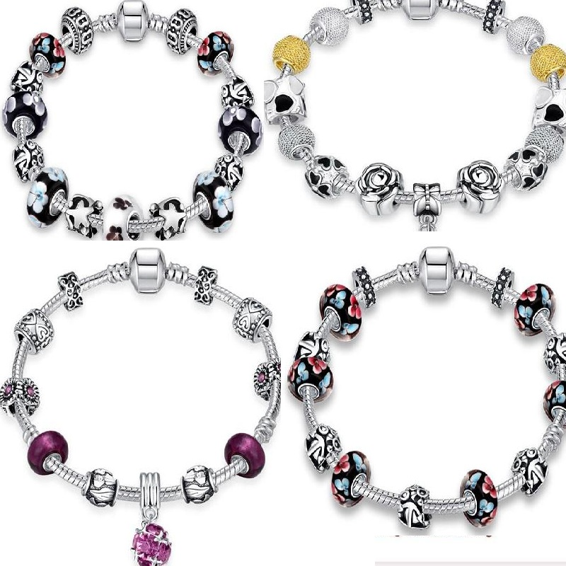 Hot Sell European Style 925 Silver Crystal Pearl Oil Drip Charm Bracelet for Women With Blue Red AAA Zirconia Beads DIY Jewelry(China (Mainland))