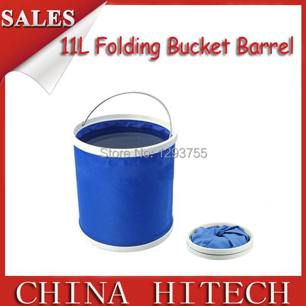 Blue 11l Large vehienlar folding bucket portable car wash bucket fishing bucket tools auto supplies(China (Mainland))