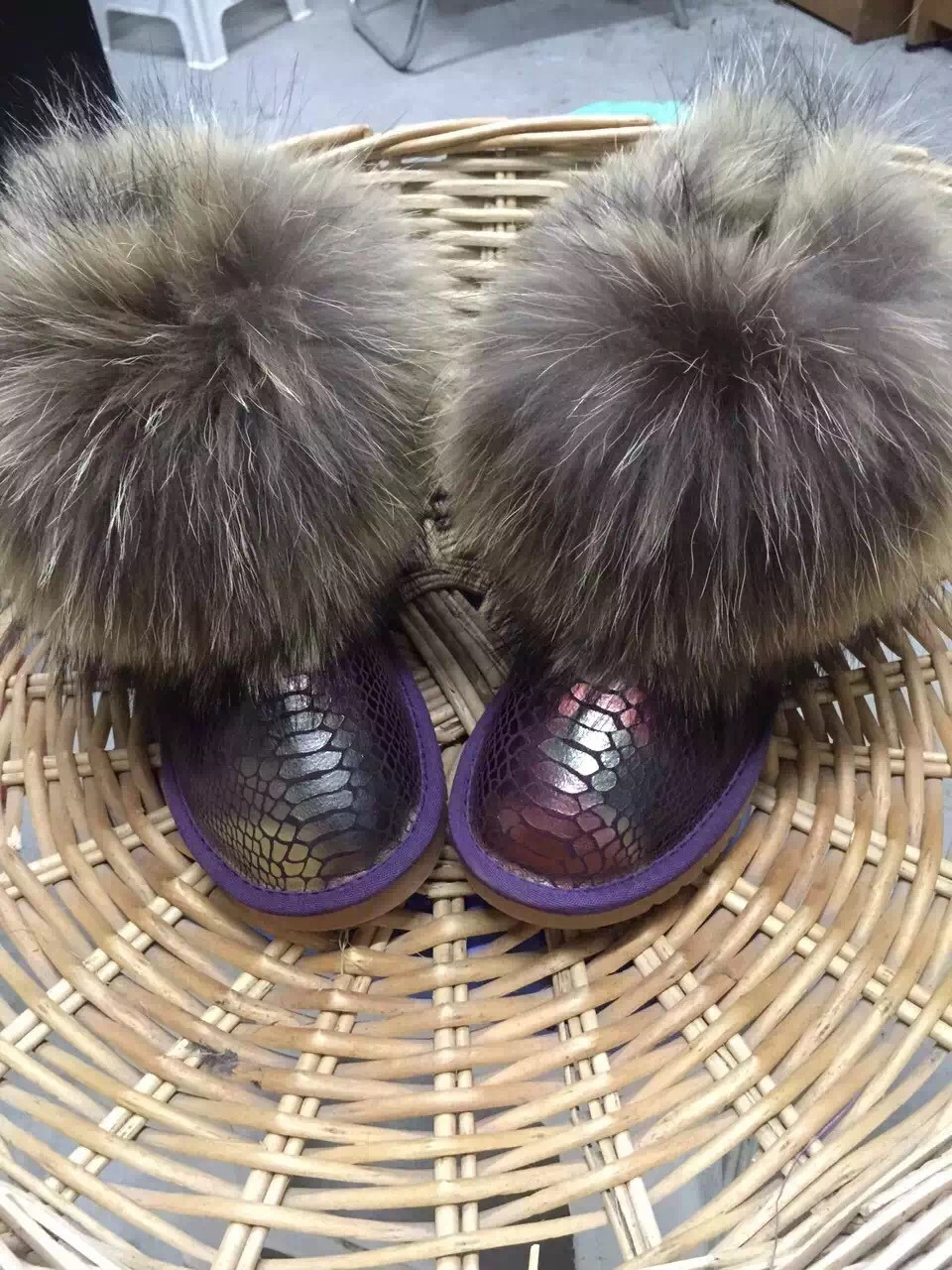 Natural Real Fox Fur Snow Boots Nubuck Leather Low Women's Shoes Ankle Cotton Winter Female - Better&Better store