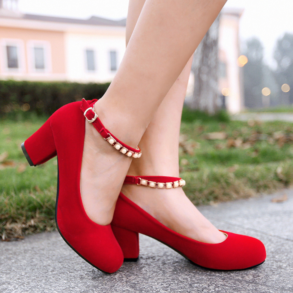 Red Chunky Heels - Is Heel