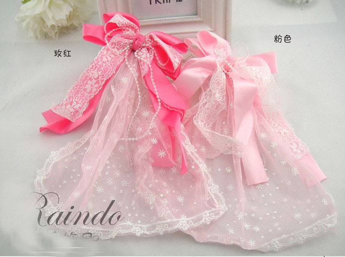 Child veil flower girl princess hairwear hair clips lace bow hair accessory with short veil free shipping(China (Mainland))