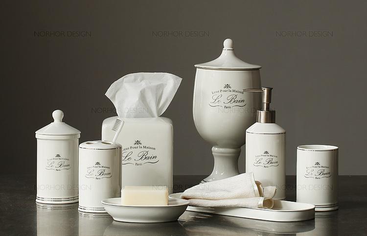 أزياء بيضاء نمط ريفي الأمريكية الكلاسيكية مجموعة الحمام السيراميك اسطوانةذات الأنسجة حامل فرشاة الأسنان حامل بهلوان(China (Mainland))