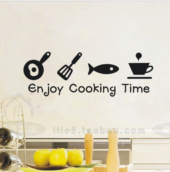 Enjoy Cooking Time Kitchen Wall Stickers Decals Glass Cabinets kitchen Home Decor Wall Art(China (Mainland))
