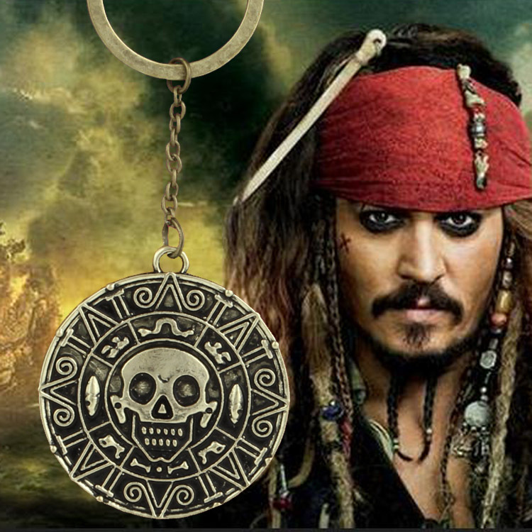 Pirates of the Caribbean Aztec Coin Medallion Key chain skull captain Jack bronze Key Ring 12pc/lot(China (Mainland))