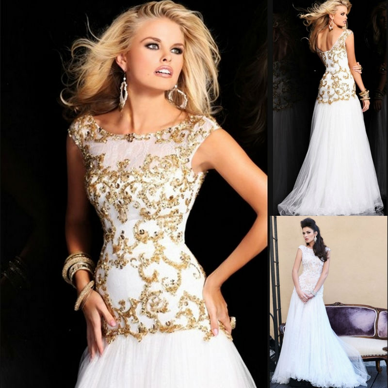 Popular Gold and White Long Sleeve Prom Dresses-Buy Cheap Gold and ...