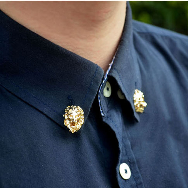 2016 New Fashion Metal Lion Head Men Brooches Women Suit Shirt Brooch Pin Metals Lapel Pins Wedding Dress or Suit Brooches(China (Mainland))