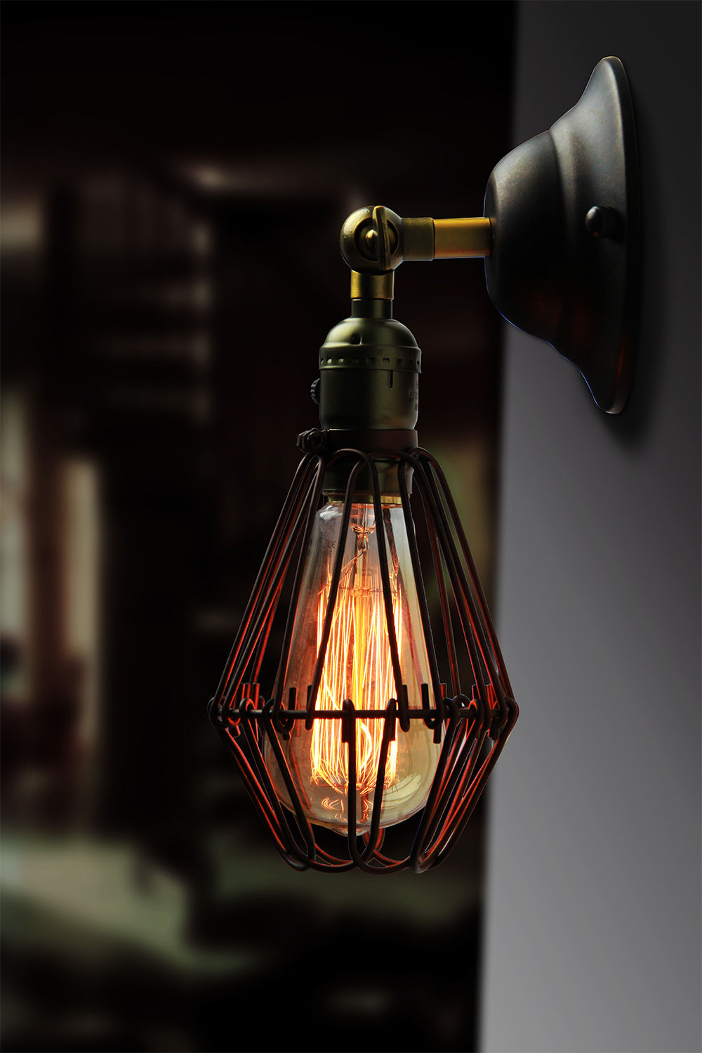 Classical 110-240v Retro Wall Lamp For E27 Edison Bulb Loft Vintage Wall Light,Antique Cage Wall Lamps<br><br>Aliexpress