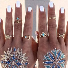 7PCS Vintage Turkish Beach Punk Geometry Ring Set Ethnic Carved Gold Plated Boho Midi Finger Ring Knuckle Charm anelli R959 R960(China (Mainland))