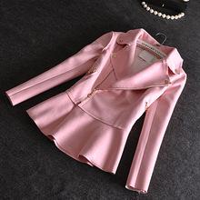2015 Europe Brand Top Quality Women Jacket Turn-down Collar Ruffle Slim Suede Jacket Women DX224(China (Mainland))