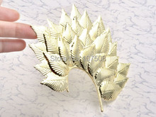 Cool Punk Gothic Sexy Woman Big Leaf Leaves Feather Ear Cuff Earring Brooch Wrap