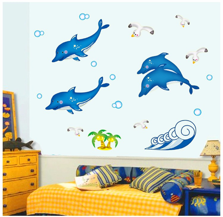 Night luminous Lovely Dolphins Fluorescent 3D Home Decor Wall Stickers Children's Bedroom Stickers Glow In The Dark