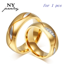 18k gold couple ring for lovers men and women with stone wedding jewelry gift