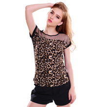 Hot Sale Summer Women Leopard Blouse Ladies Sexy Short Sleeve Blusas Femininas Drop Shipping Free Shipping(China (Mainland))
