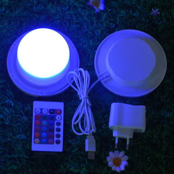 85mm Rechargeable Bulblite RGB + White LED lighting system Waterproof Cordless Bulb Lite LED under table light for weddings(China (Mainland))
