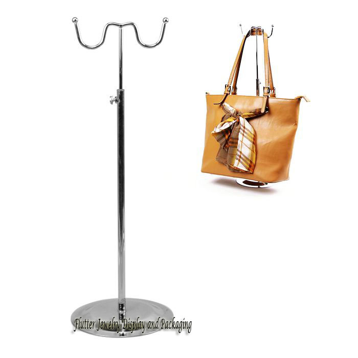 Wholesale 5pcs/lot Metal Handbag Display Stand 15cm Wide Bag Showing Holder Support Hook Stainless Steel Rack Adjustable #FL002(China (Mainland))