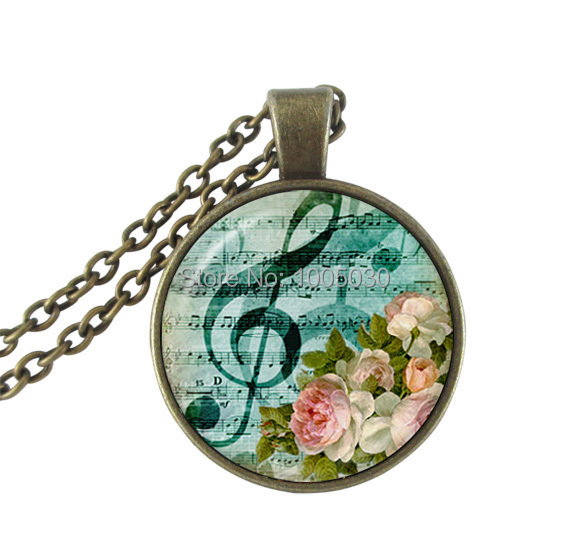 Music note necklace treble clef jewelry glass cabochon pendant musical note neckless for misic lover rose necklace bronze chain(China (Mainland))