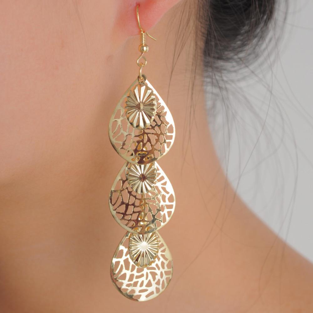 long dangle earrings hollow out waterdrop earrings gold