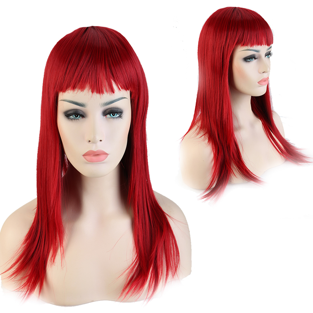 """23"""" 58cm Women Fashion Red Full Wigs Long Straight Neat Bangs Synthetic Heat Restsistant Hair Wig for Daily Coutume Dress(China (Mainland))"""