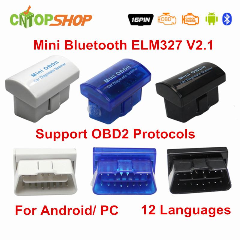 New Arrival Super Mini ELM327 Bluetooth ELM 327 V2.1 ELM327 OBD2 Scanner OBDII ELM327 Code Reader 3 Colors With Retailing Box(China (Mainland))