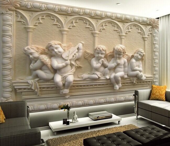 Custom 3d mural wallpaper european style 3d stereoscopic for 3d photo wallpaper for living room