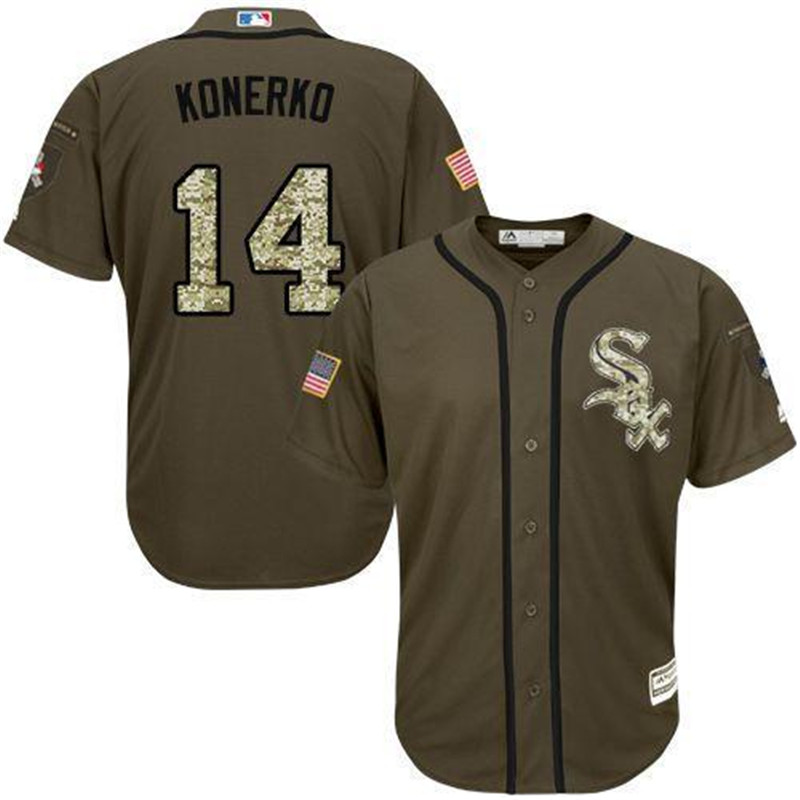 Paul Konerko Jersey Men's White Sox #14 Paul Konerko Home Green Salute to Service Stitched Embroidery Baseball Jerseys(China (Mainland))